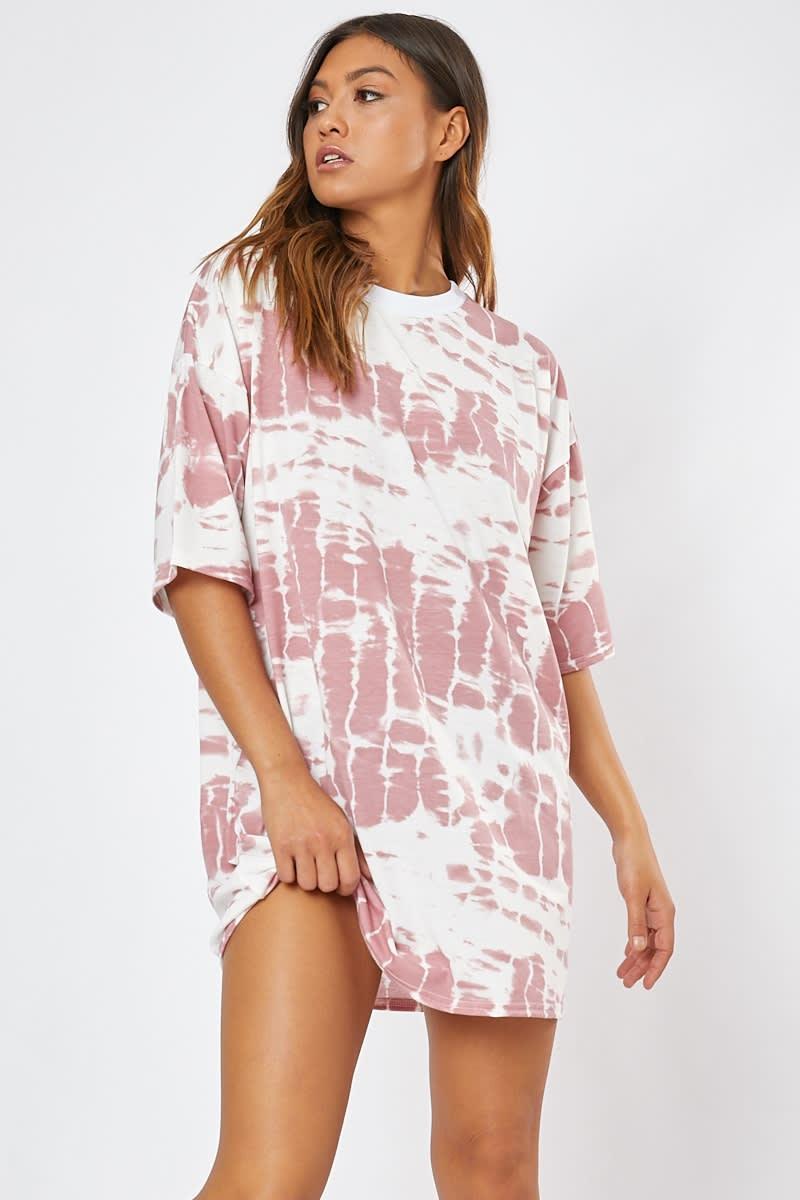 pink tie dye lounge t shirt dress