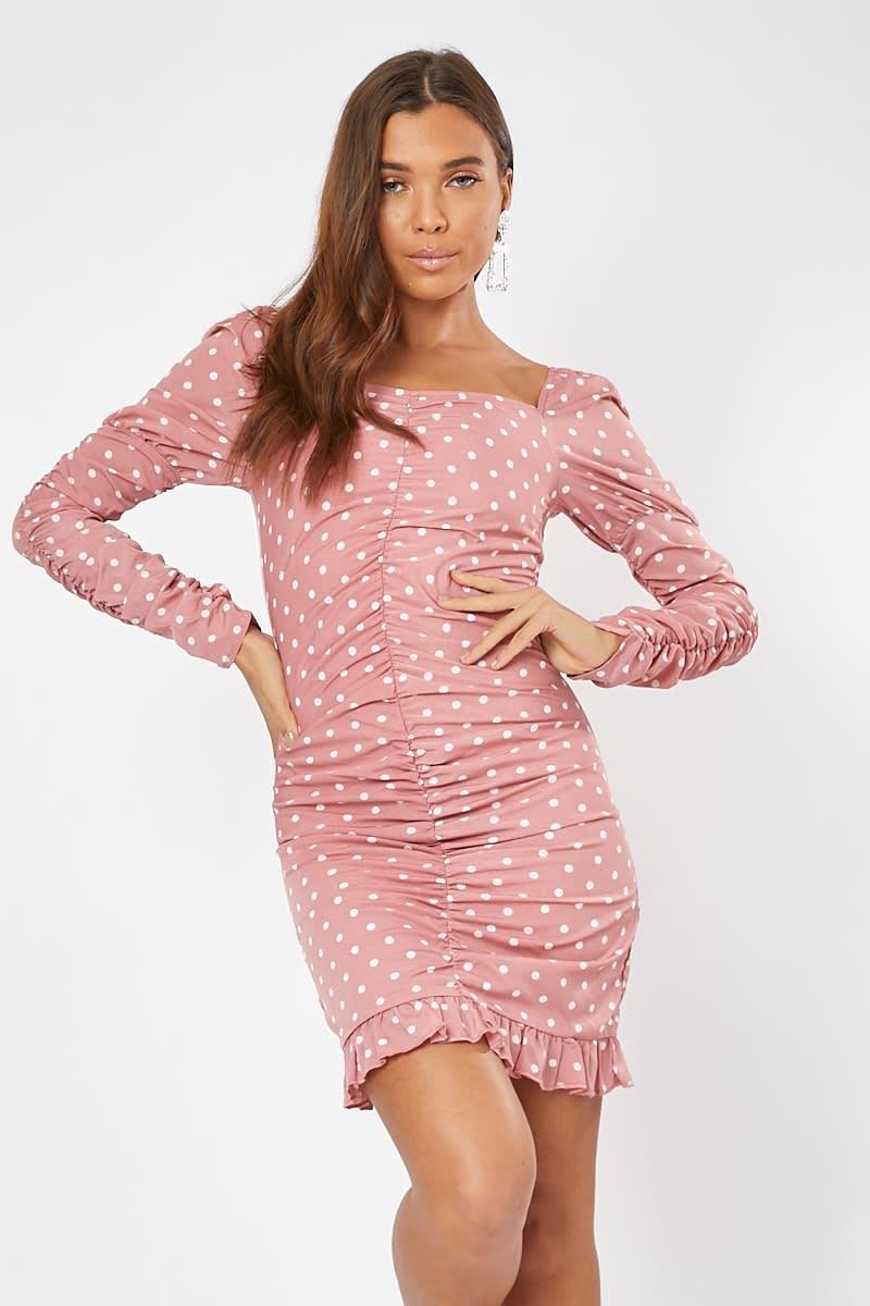 pink polka dot puff sleeve frill mini dress