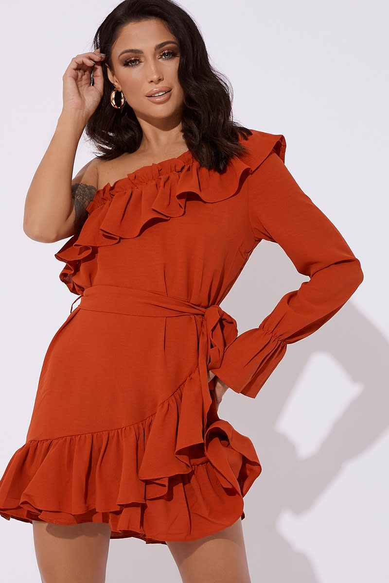 rust one shoulder frill wrap dress