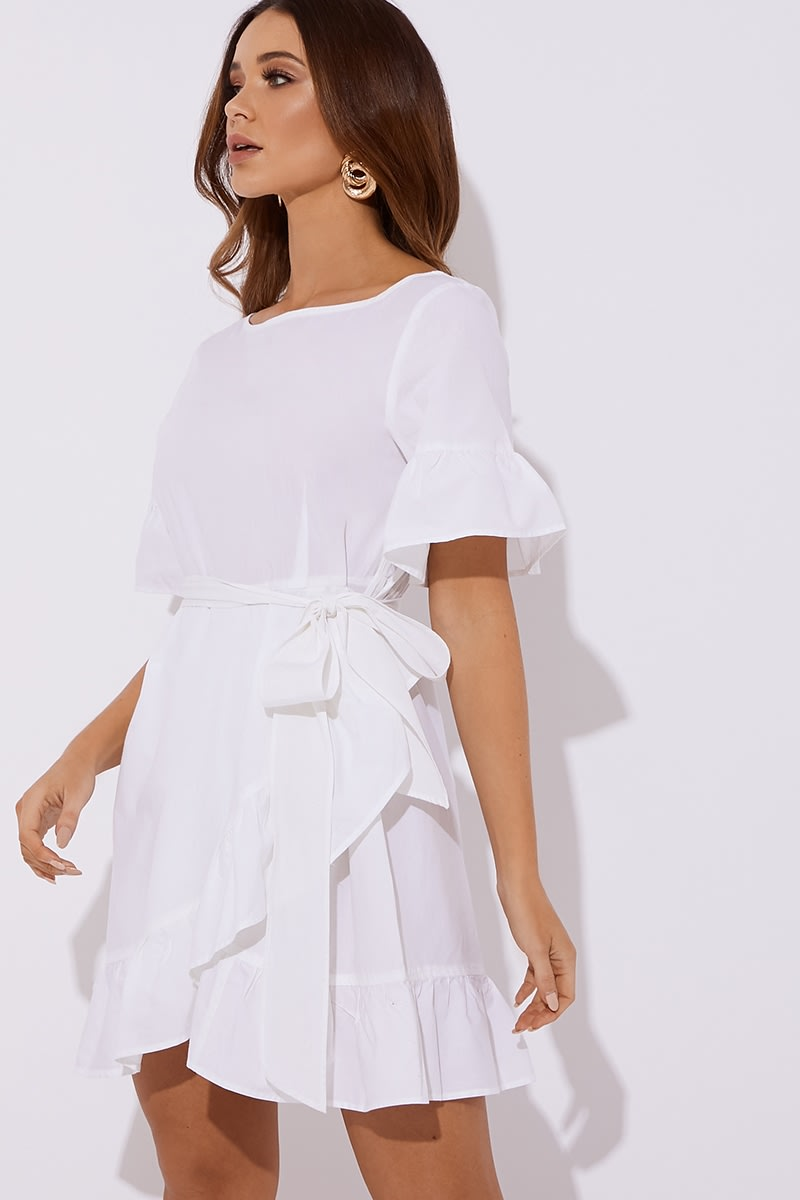 white cotton poplin frill tie waist mini dress