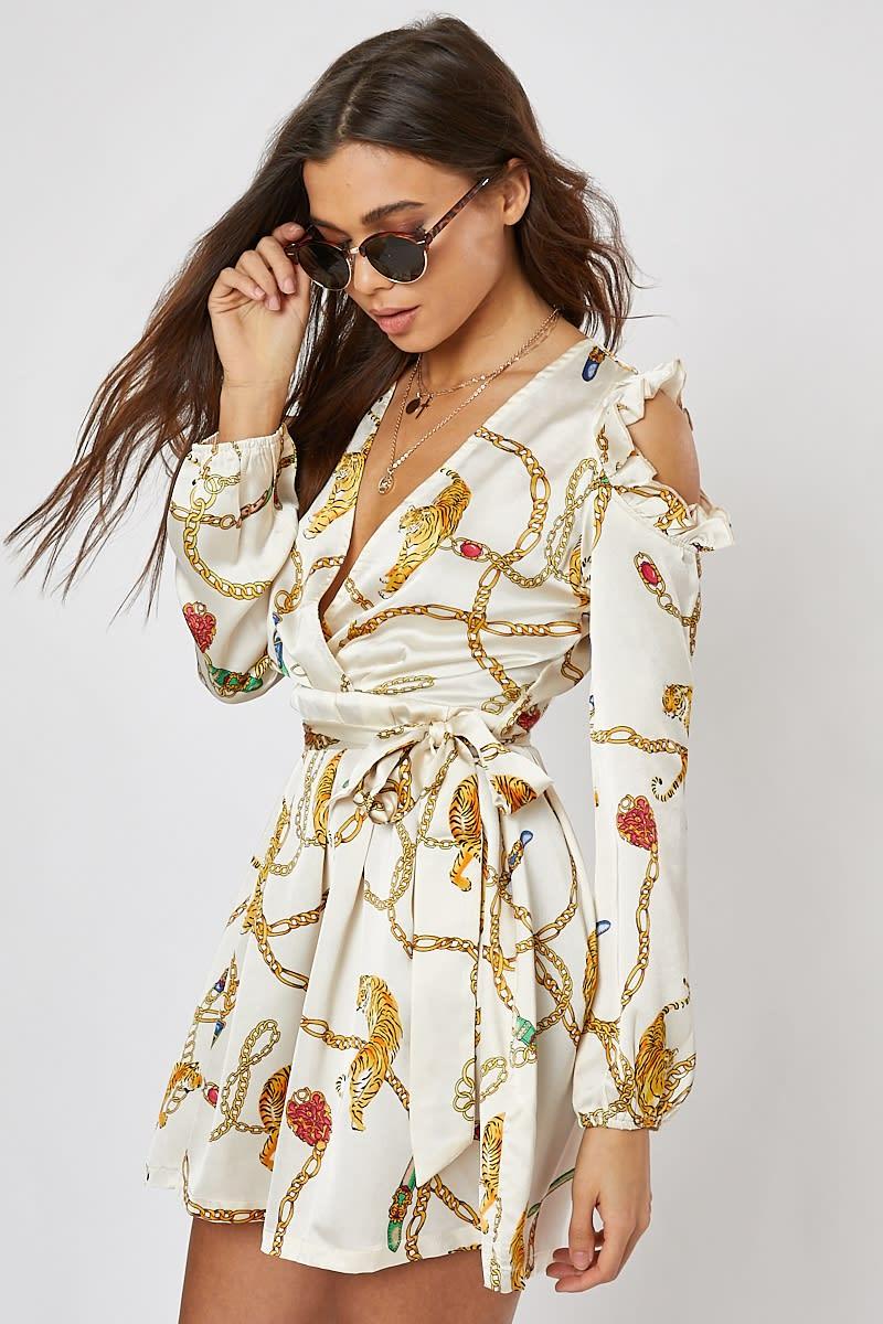 cream chain print satin cold shoulder wrap dress