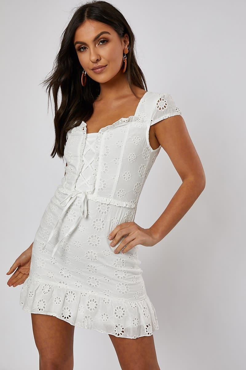 white broderie frill hem belted mini dress