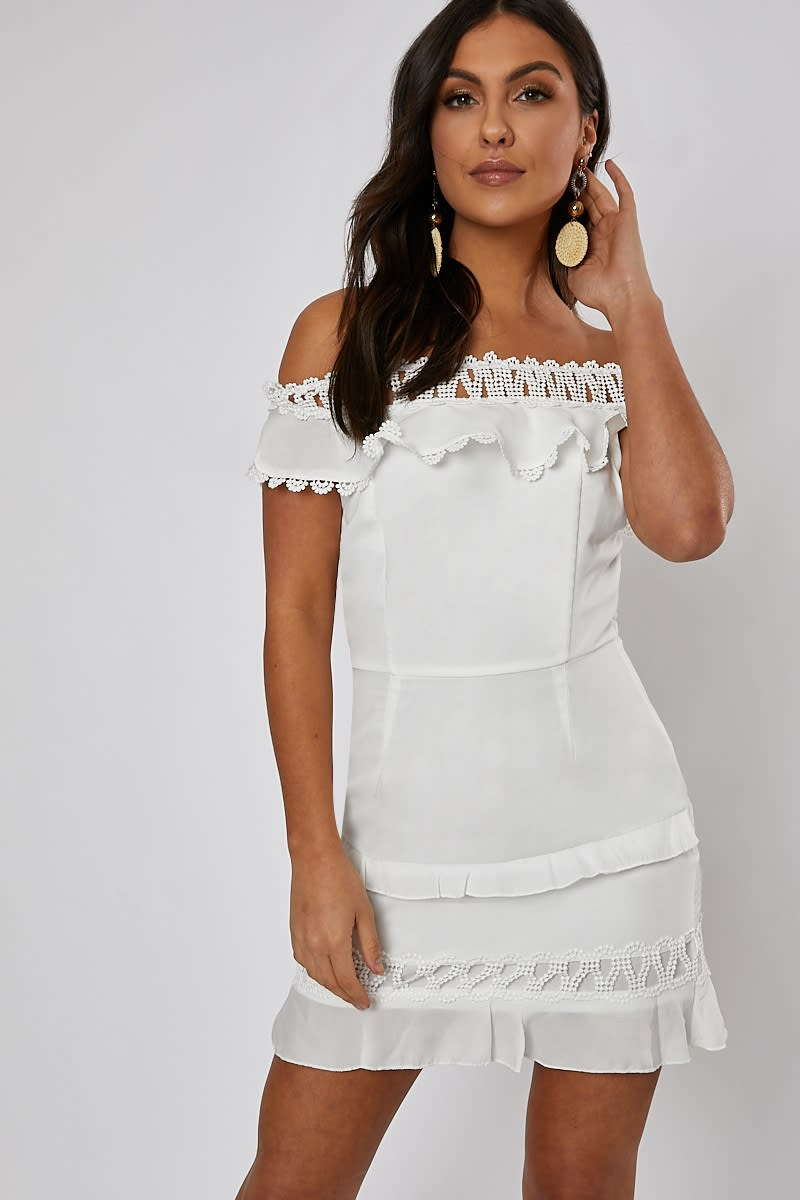 white bardot lace trim frill detail mini dress