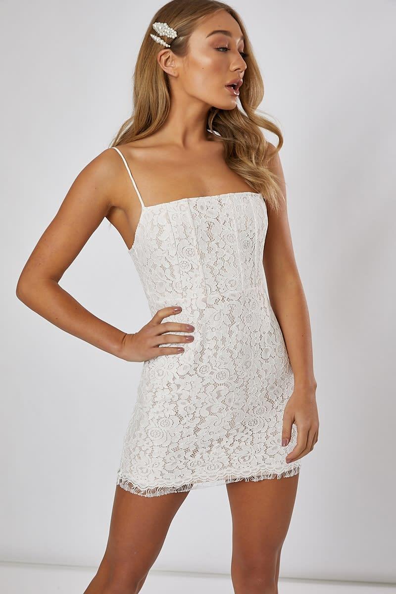 white lace mini cami dress