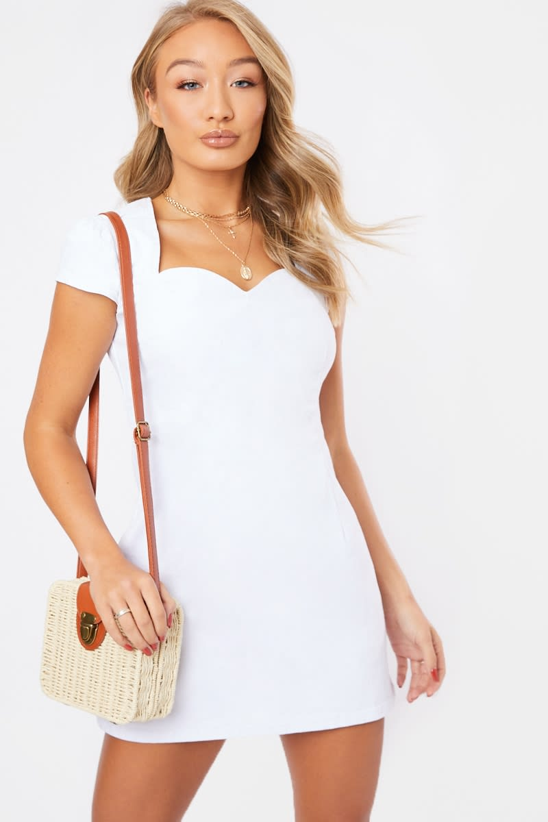 white short puff sleeve denim mini dress
