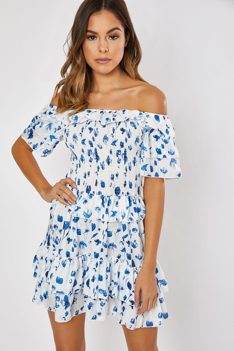 white floral frill tiered shirred bodice bardot dress