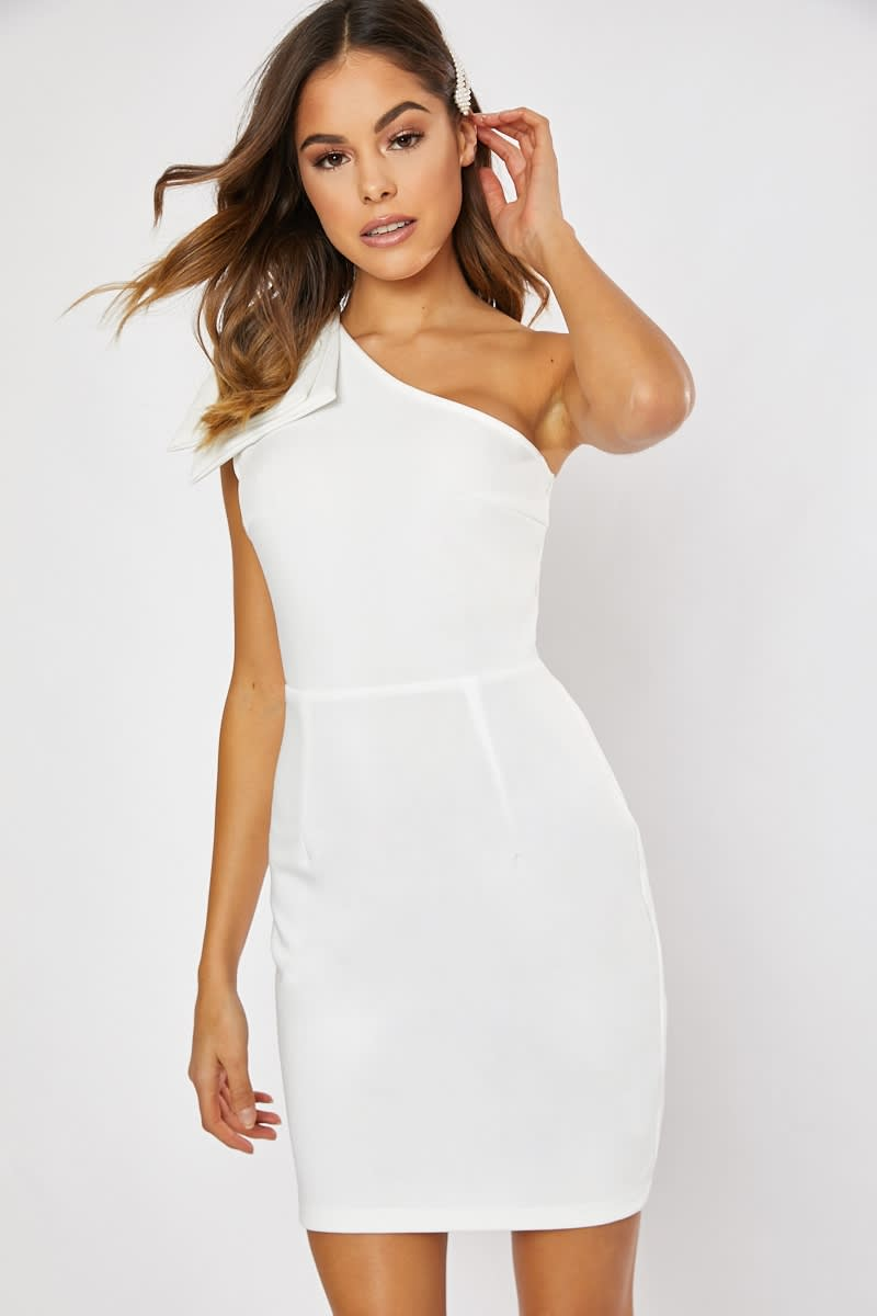 white one shoulder bow detail bodycon dress