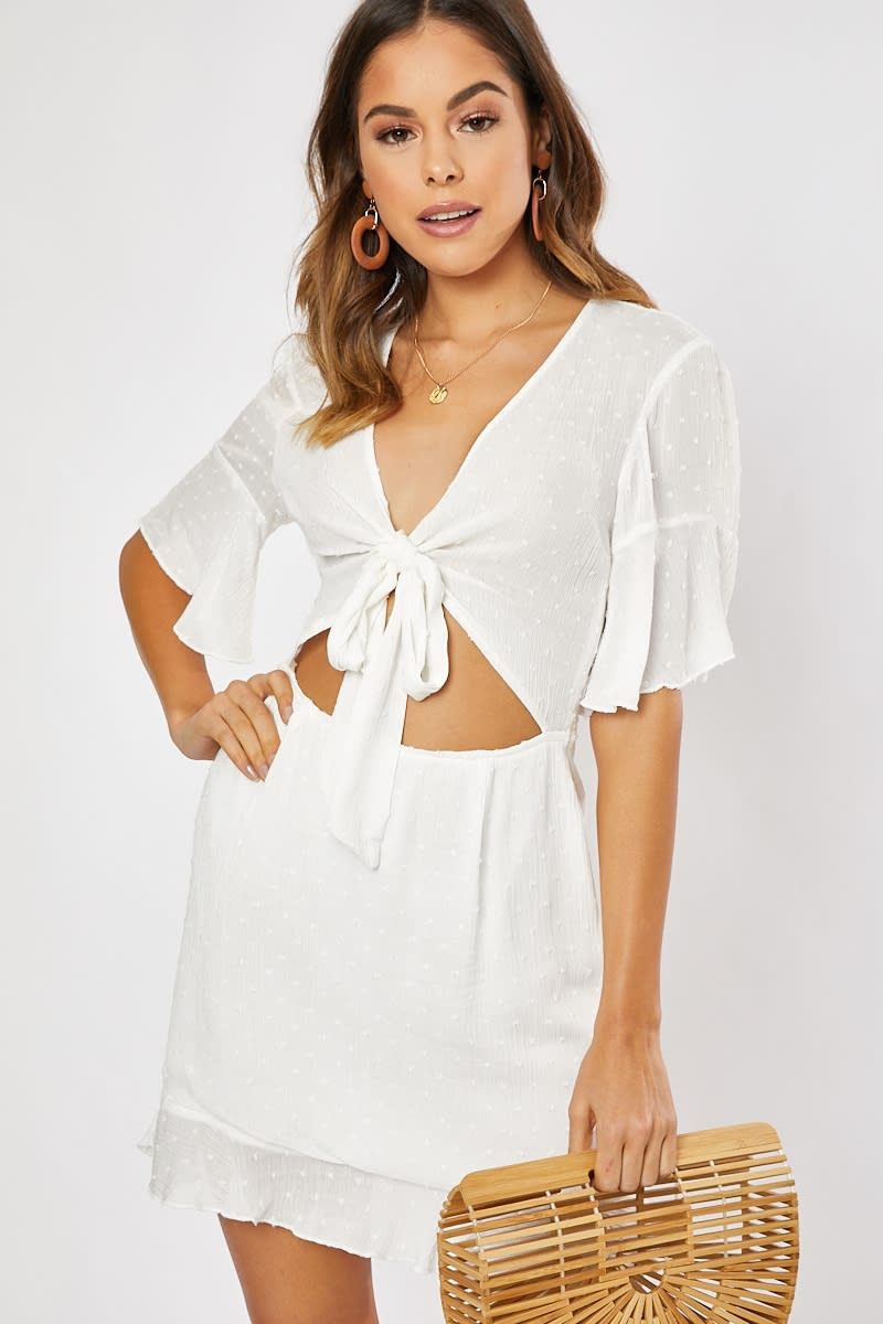 white tie textured frill hem skater dress
