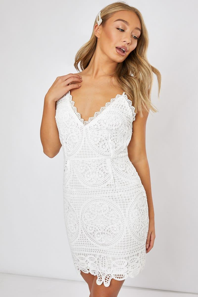 white crochet lace cami dress