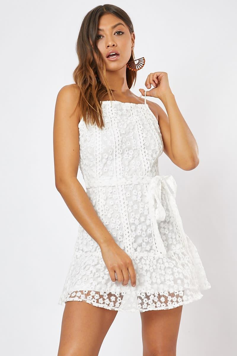 white lace tie waist frill hem mini dress
