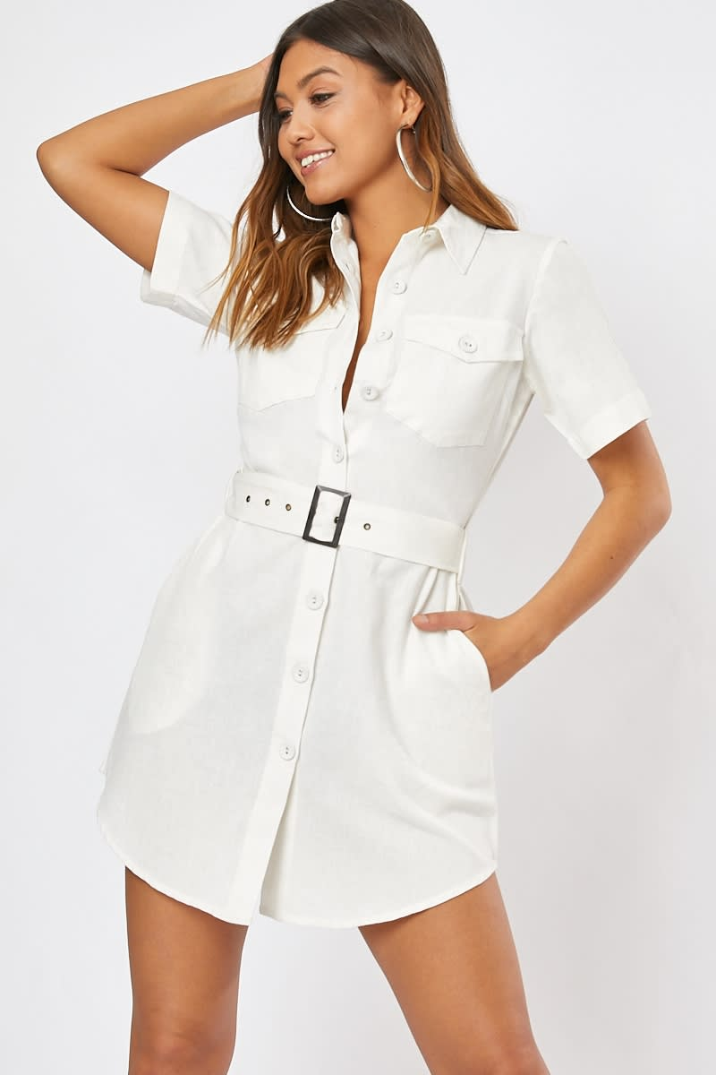 cream button detail belted mini dress
