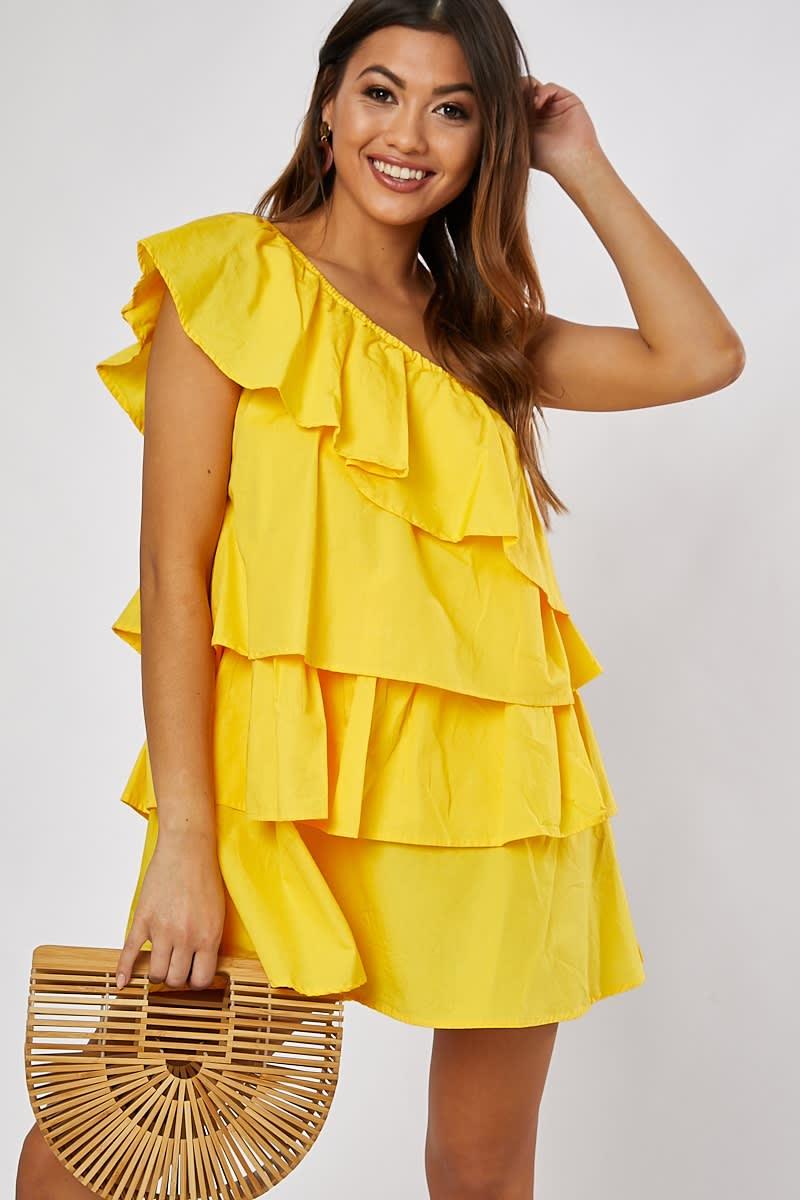 yellow cotton poplin frill one shoulder dress
