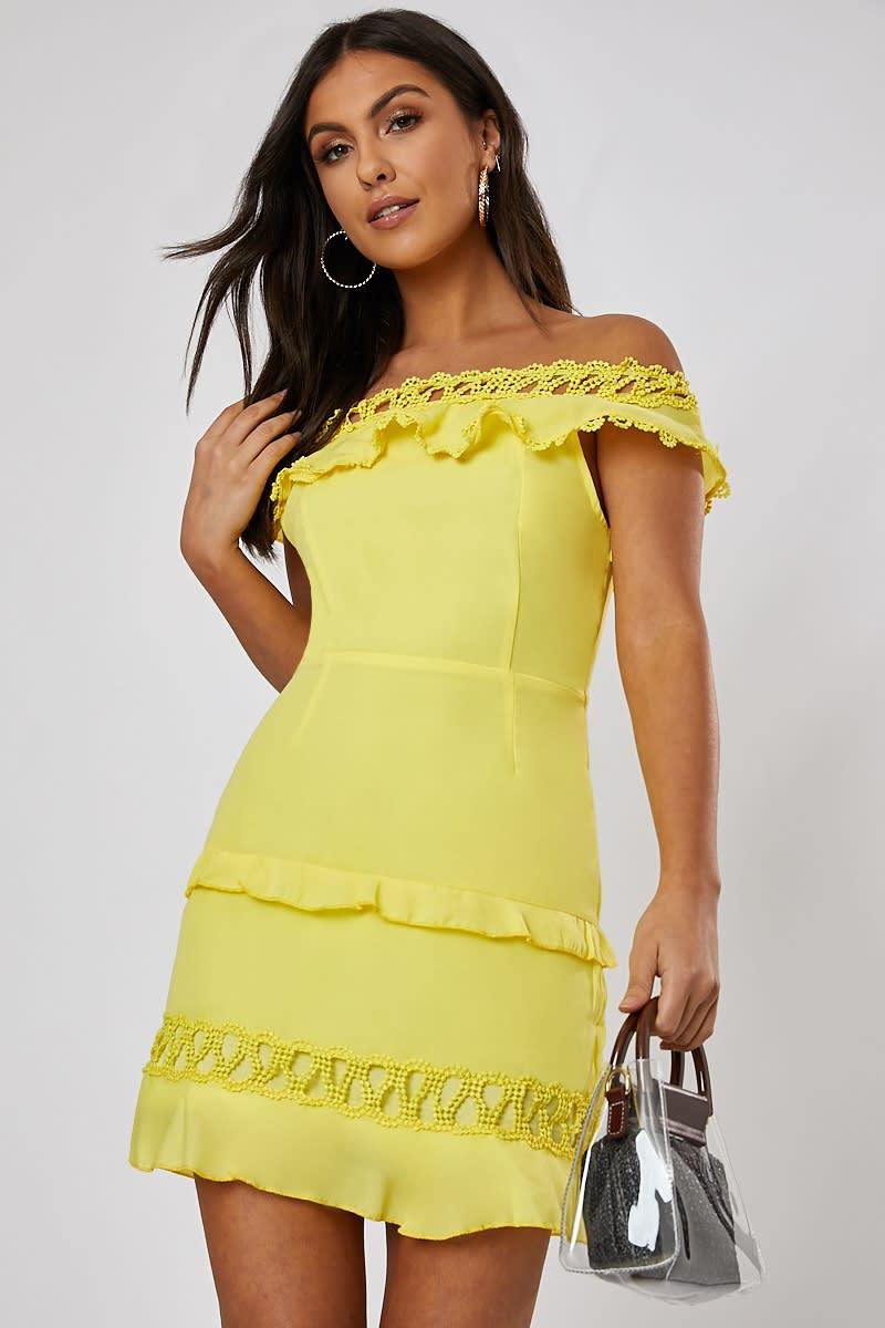 yellow bardot lace trim frill detail mini dress