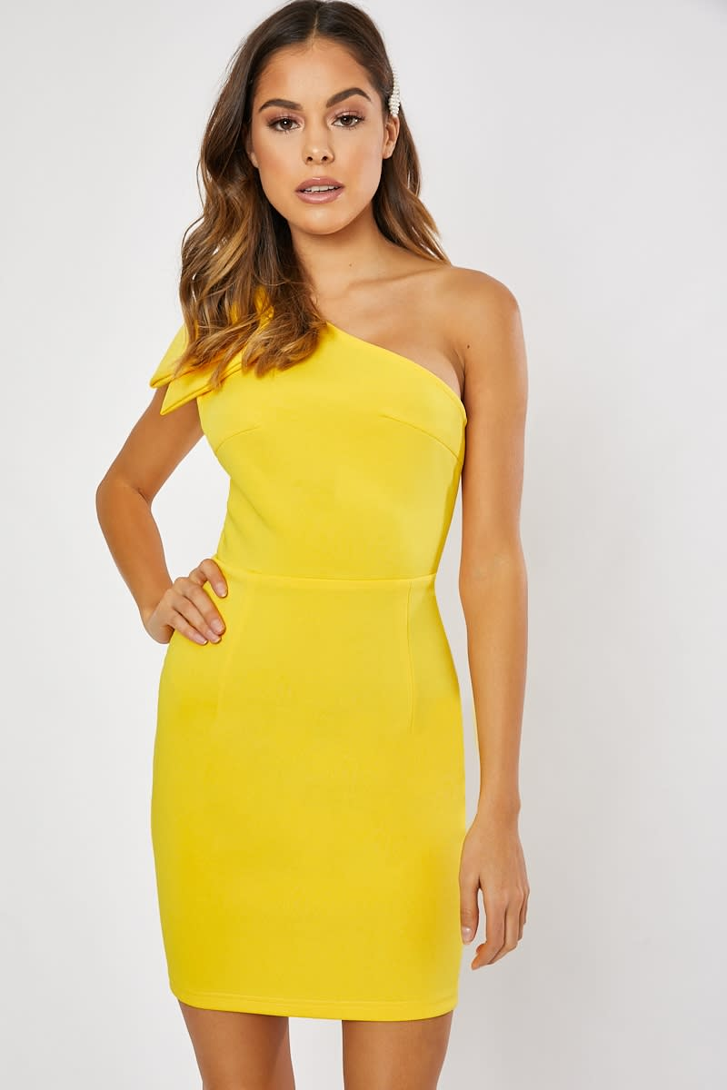 yellow one shoulder bow detail bodycon dress