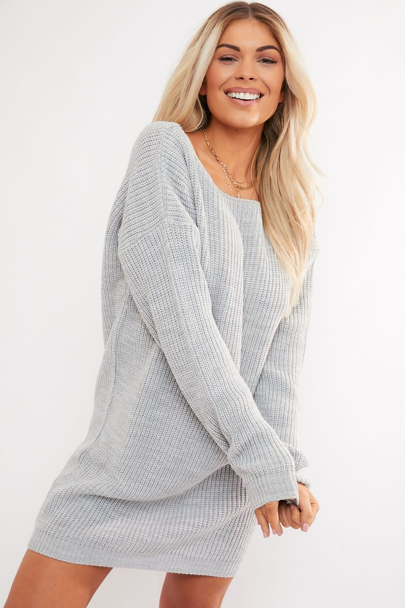 grey v plunge back jumper dress