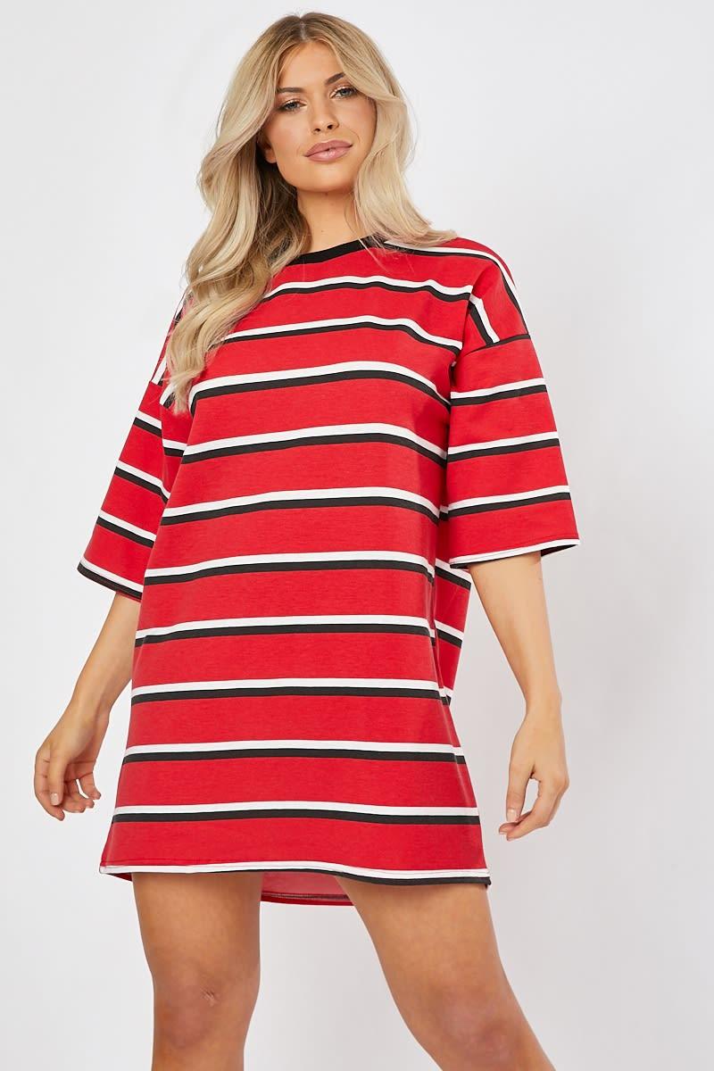 red stripe lounge t shirt dress