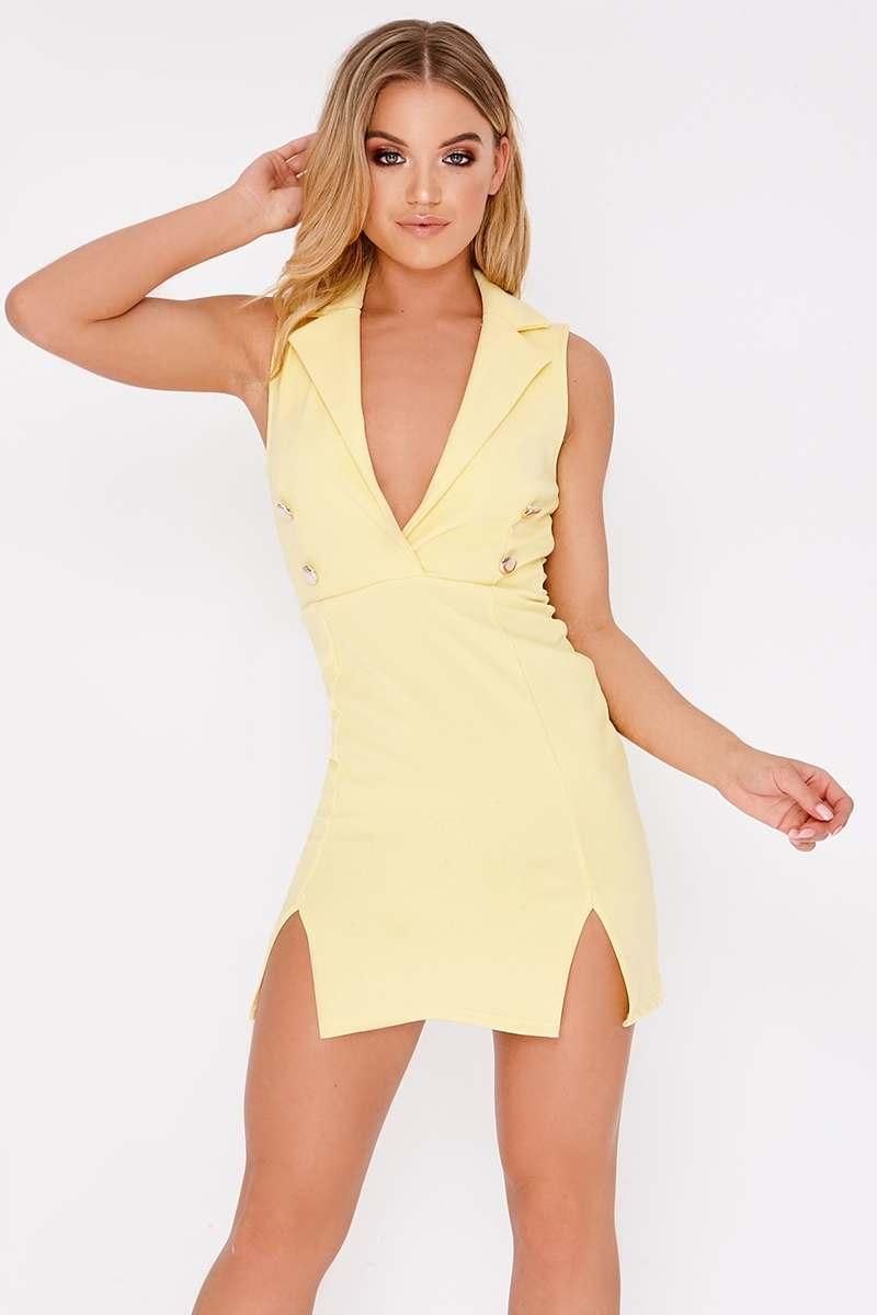 yellow sleeveless blazer dress