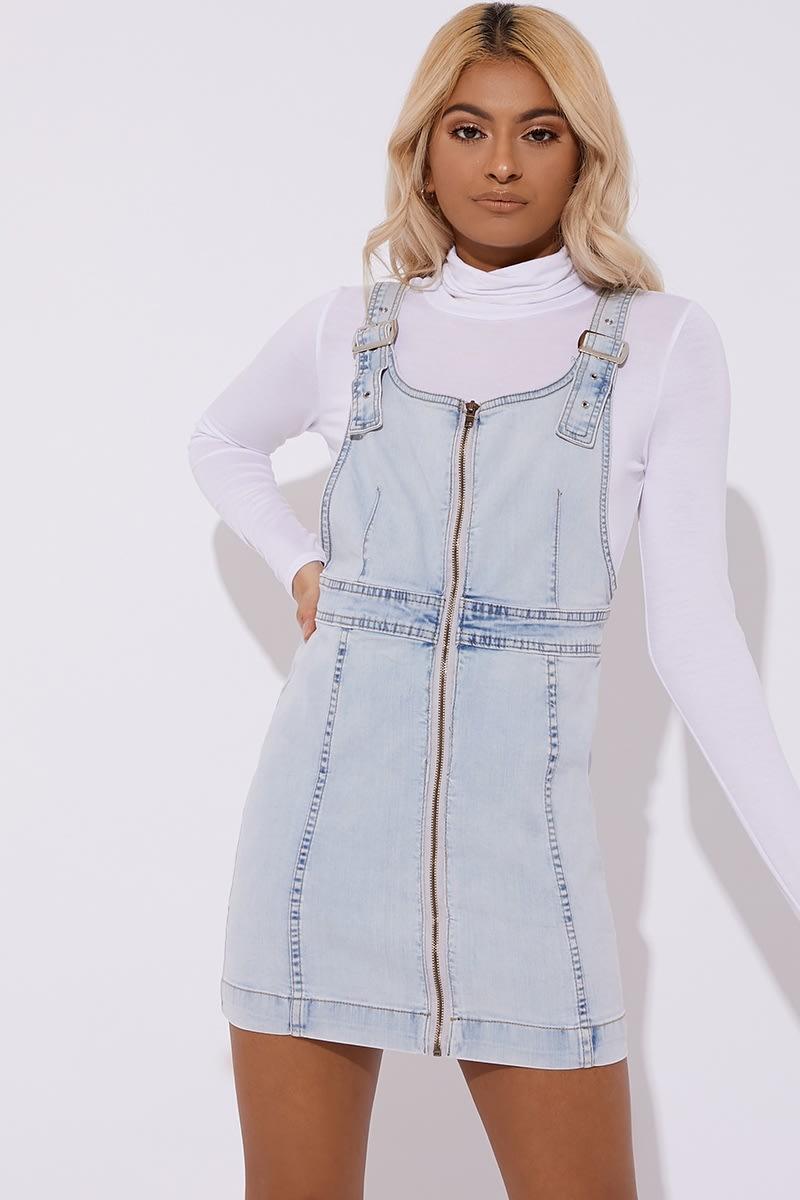 light blue zip through dungaree dress