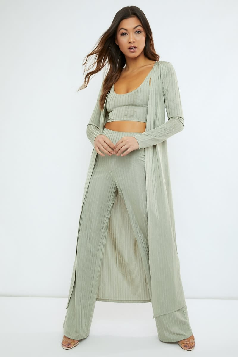 sage green slinky ribbed duster