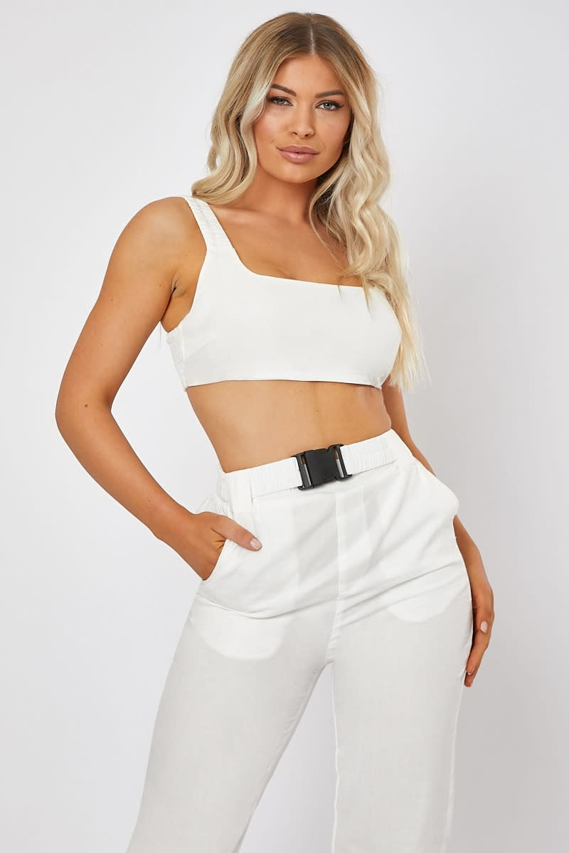 white shirred back co-ord crop top