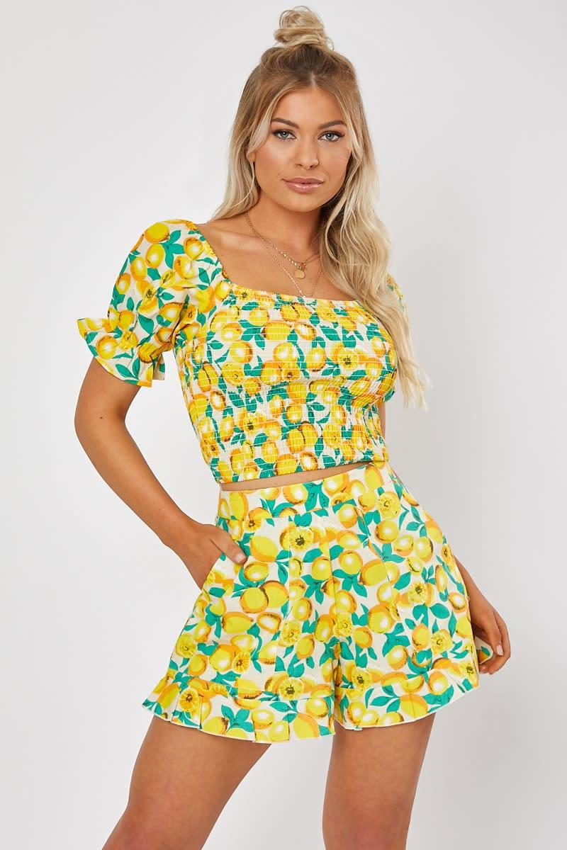 yellow lemon print puff sleeve co-ord crop top