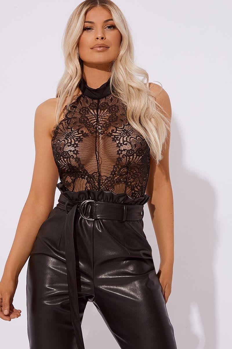 black high neck eyelash lace bodysuit