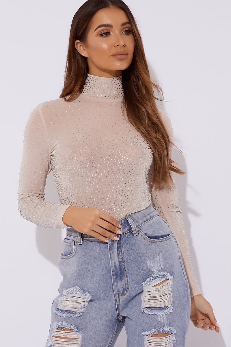 nude diamante high neck long sleeved bodysuit