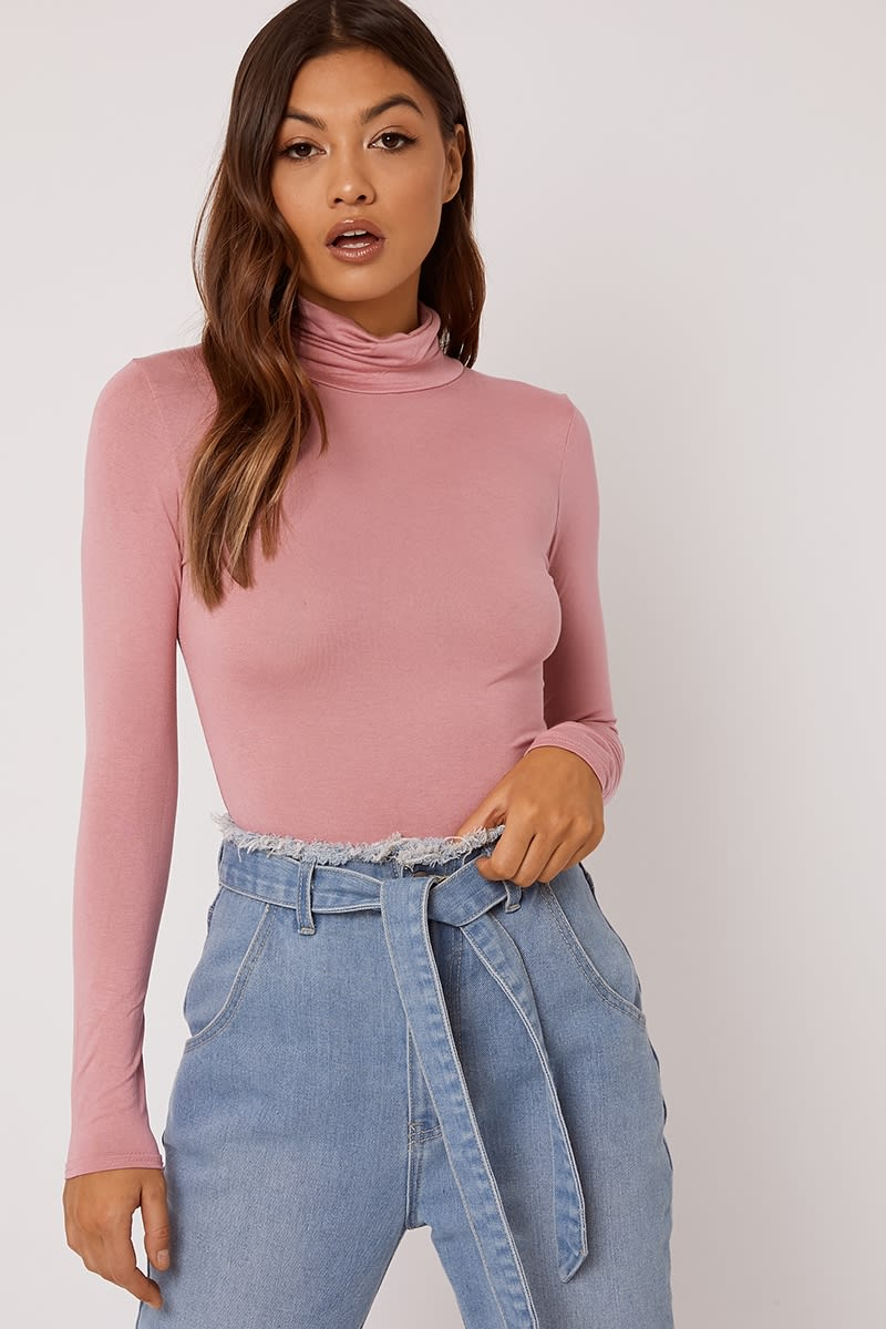 BASIC BLUSH ROLL NECK BODYSUIT