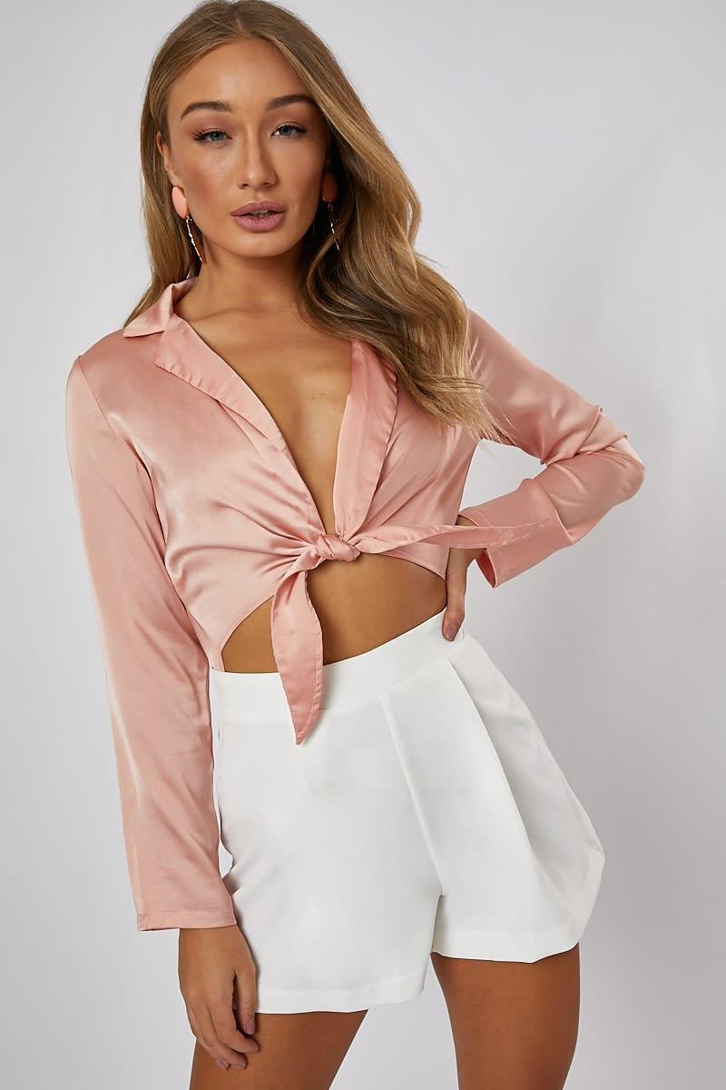 light pink satin tie detal bodysuit