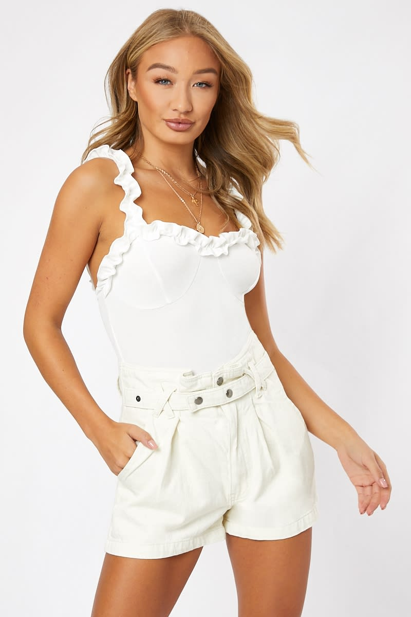 white frill neck cami bodysuit