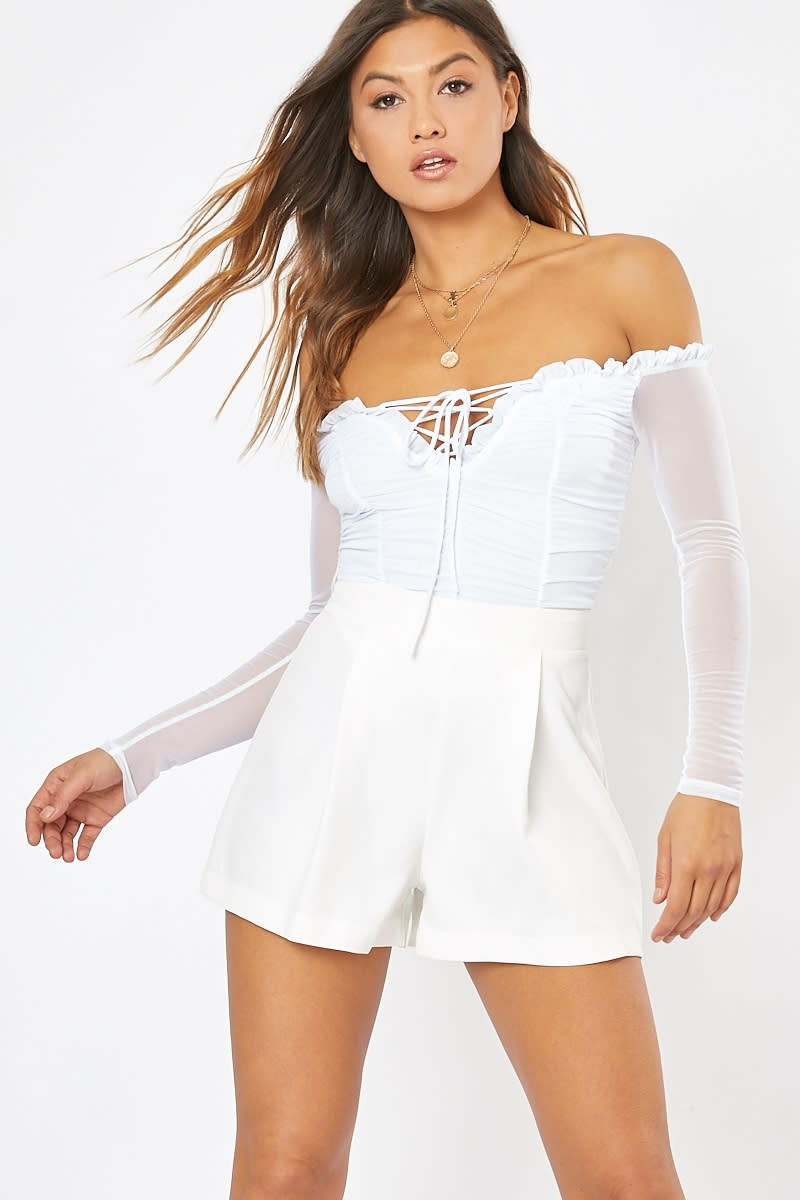 white ruched mesh front tie detail bodysuit