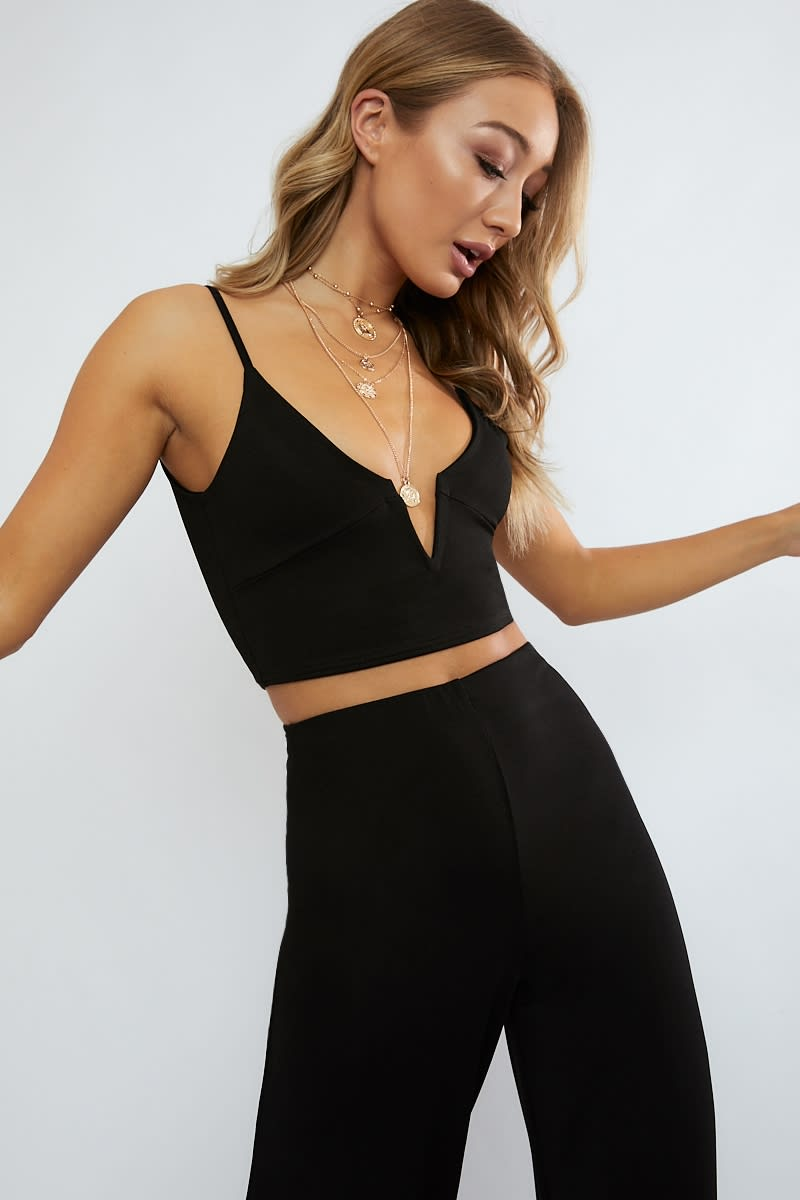 black cami plunge co ord crop top