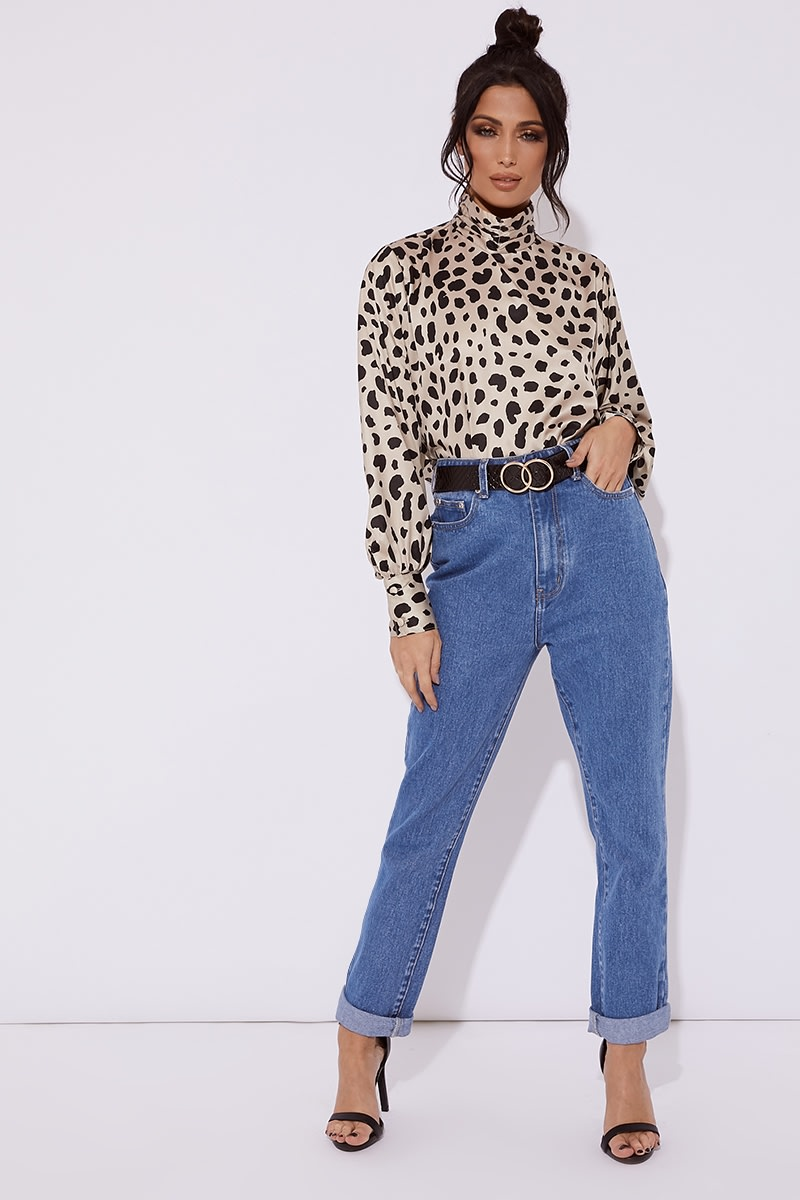 high neck leopard print satin cropped top