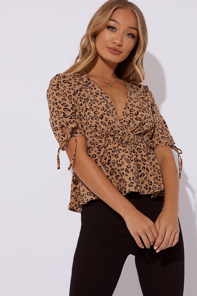 brown leopard print wrap top