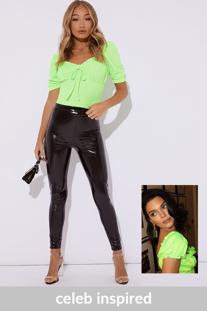 lime green puff sleeve tie front top