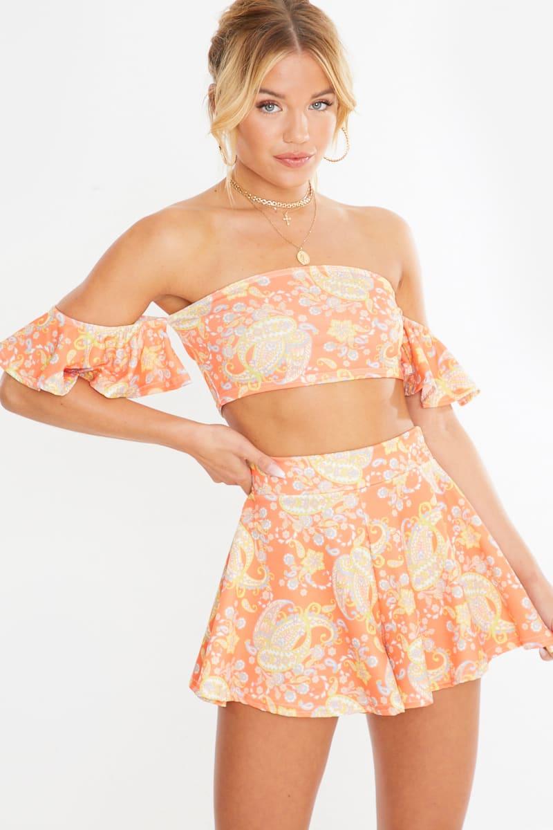orange paisley print frill sleeve co-ord crop top