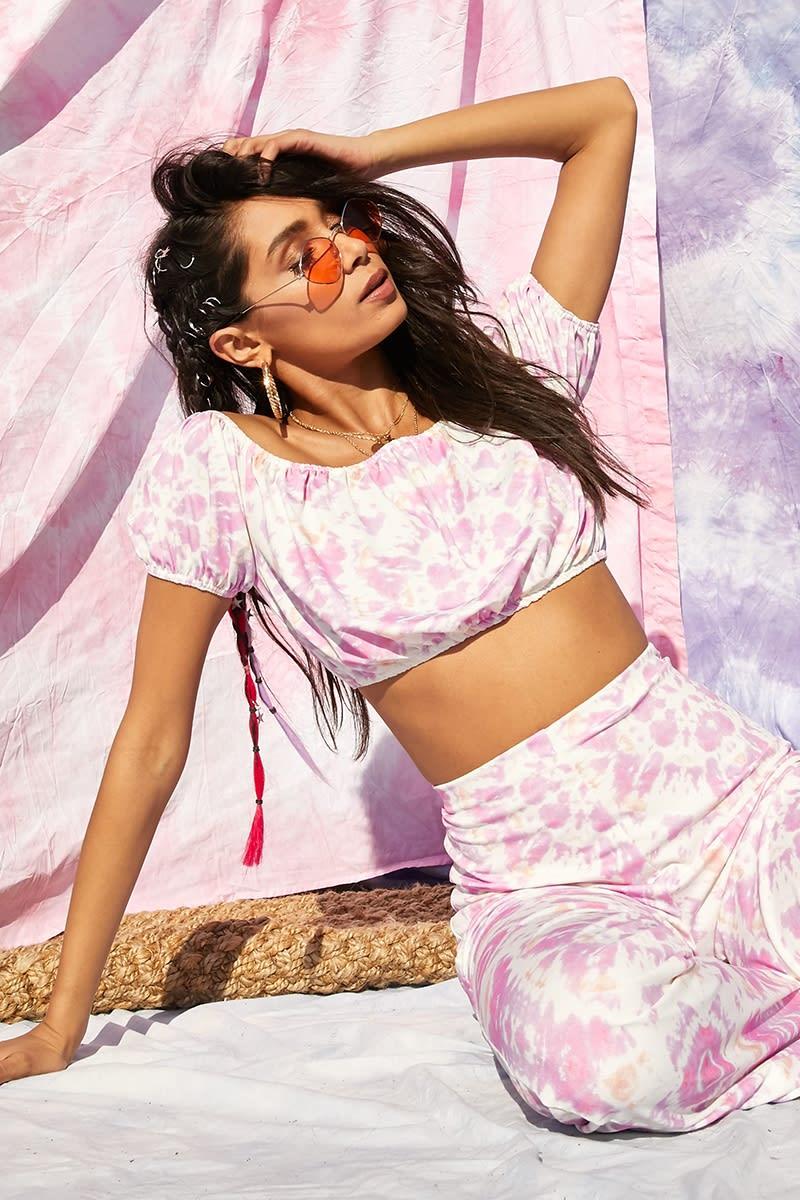 pink tie dye bardot co-ord crop top