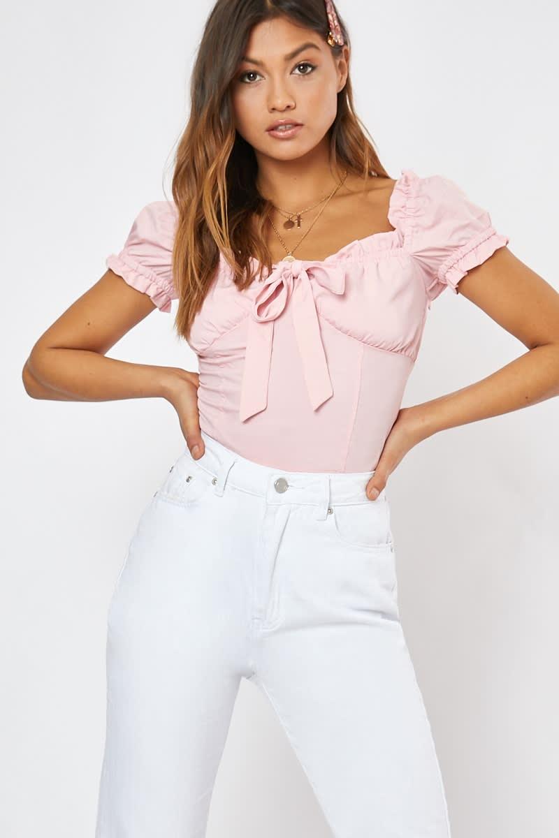 pink puff sleeve tie front crop top