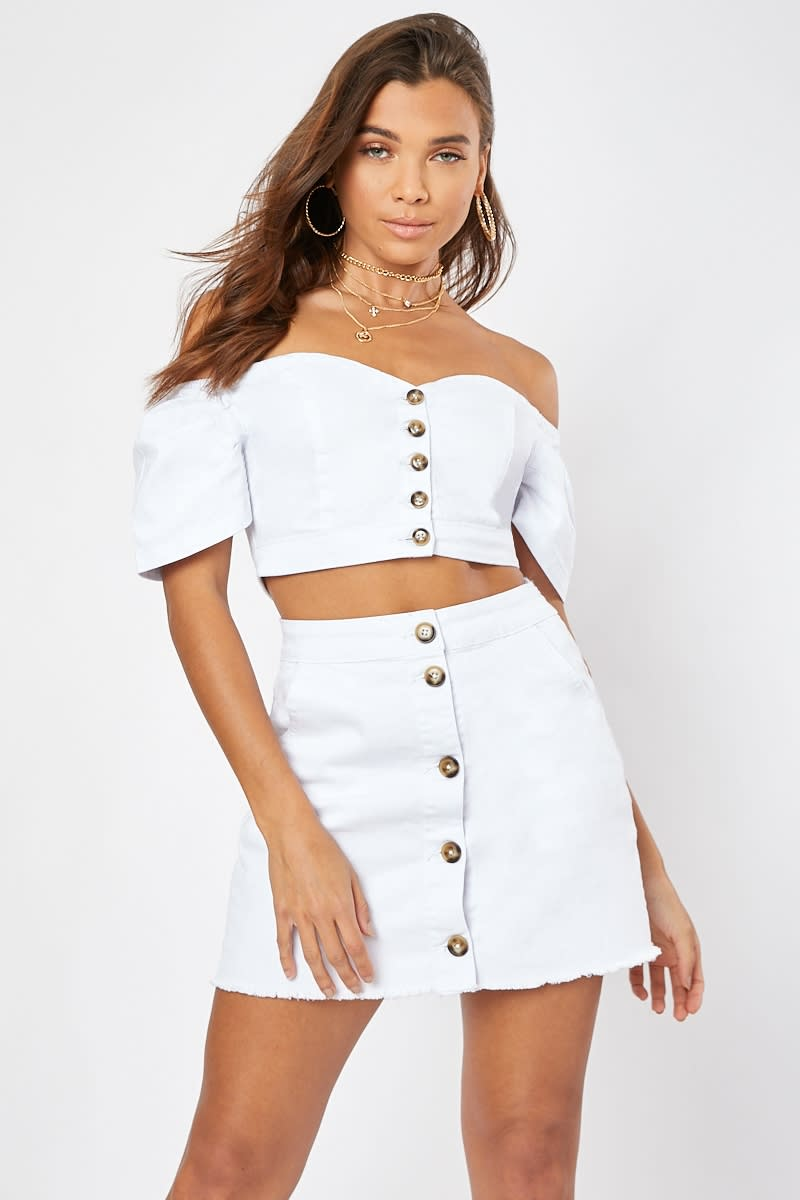 white button front puff sleeve denim co-ord crop top