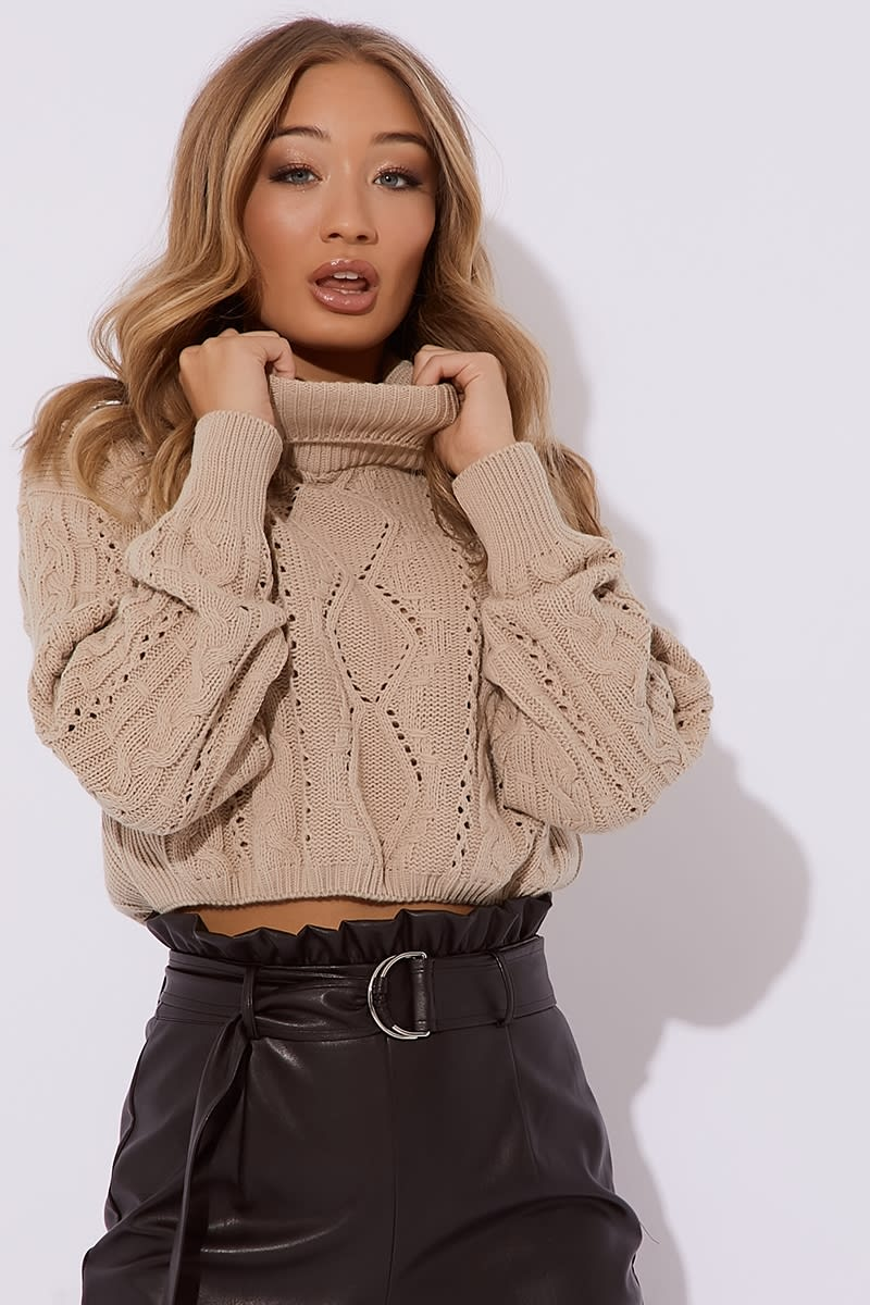camel roll neck cable knit jumper