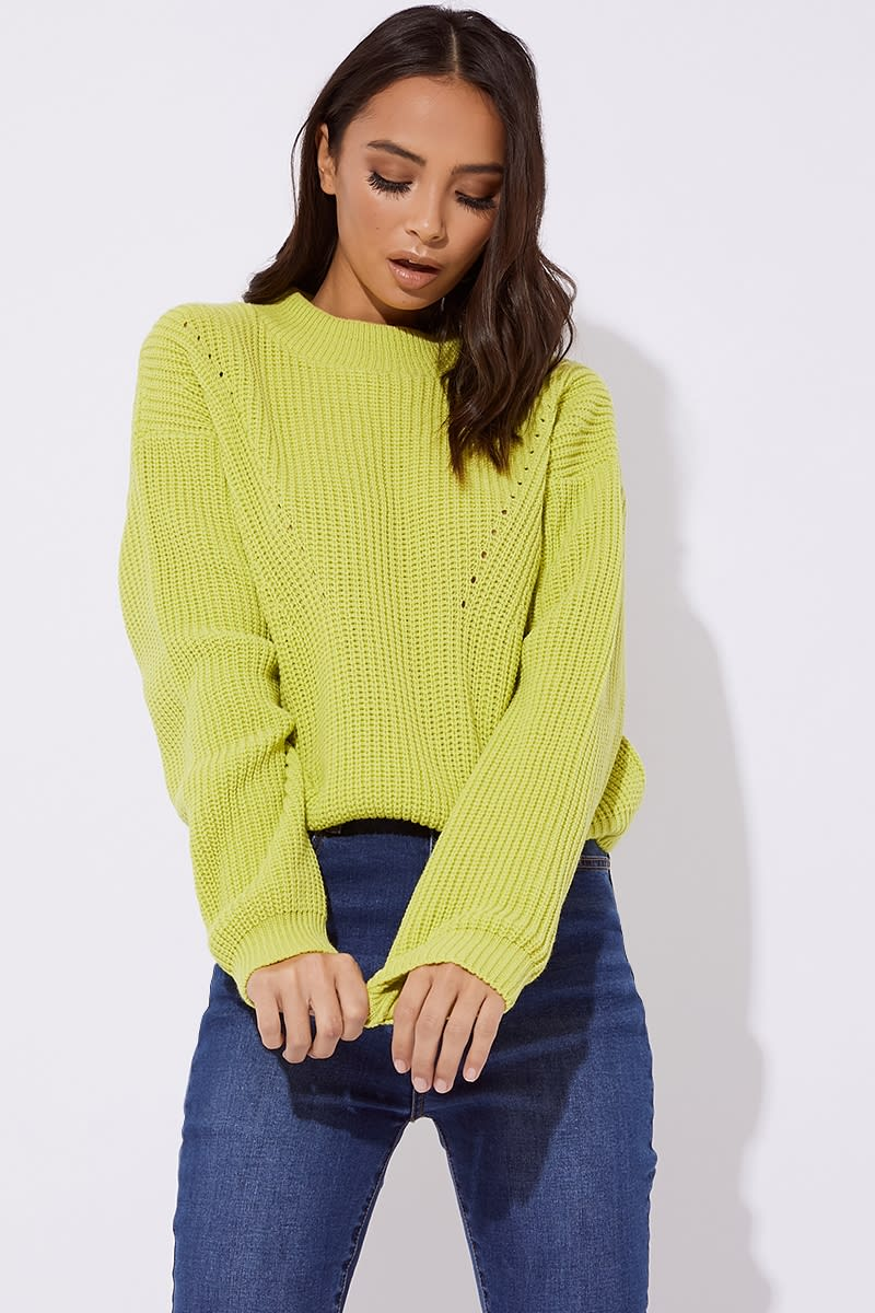lime crew neck ribbed knitted jumper