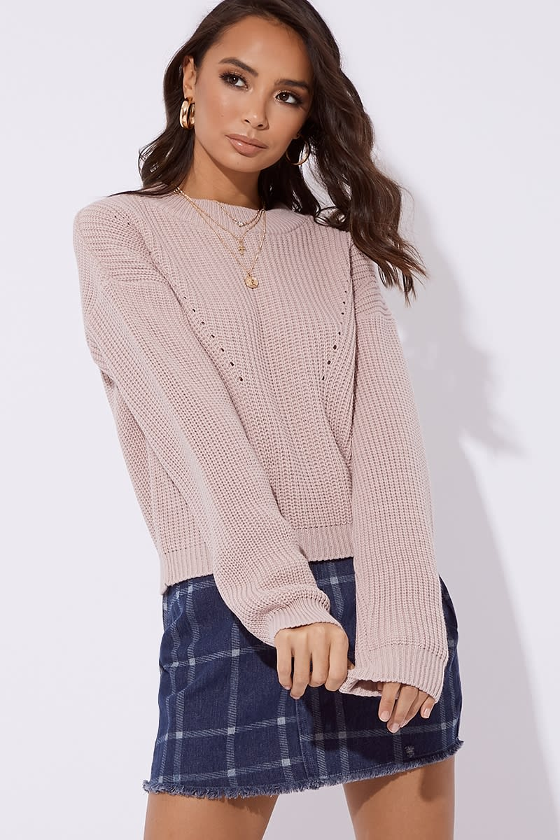 nude crew neck ribbed knitted jumper