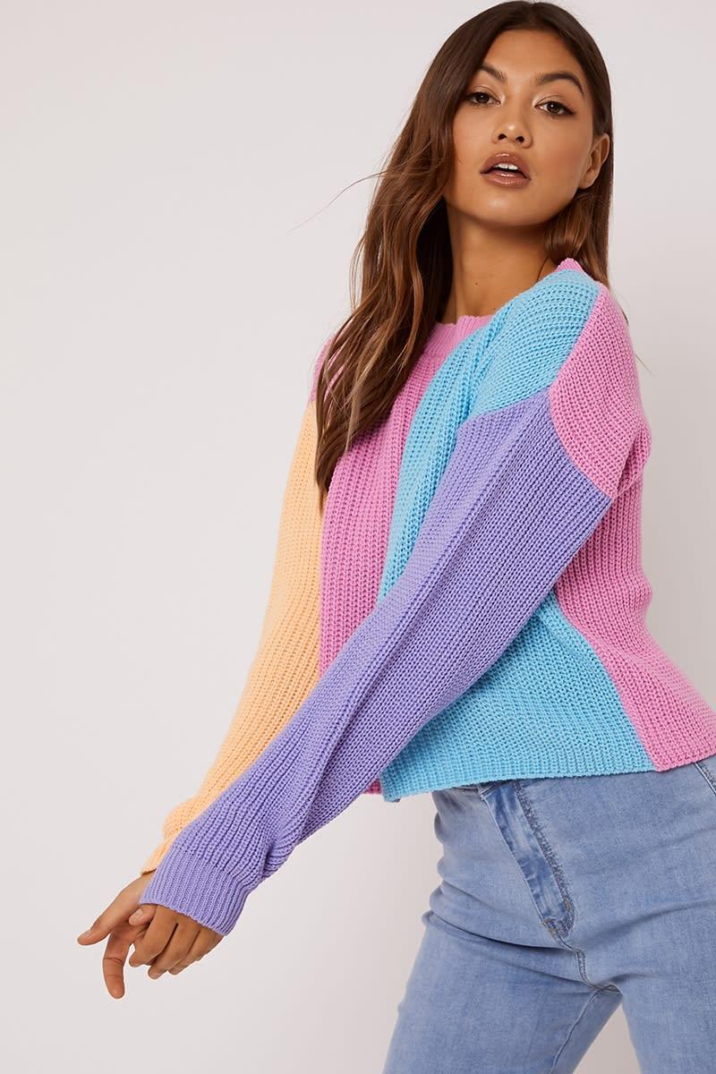 pink colour block crew neck jumper