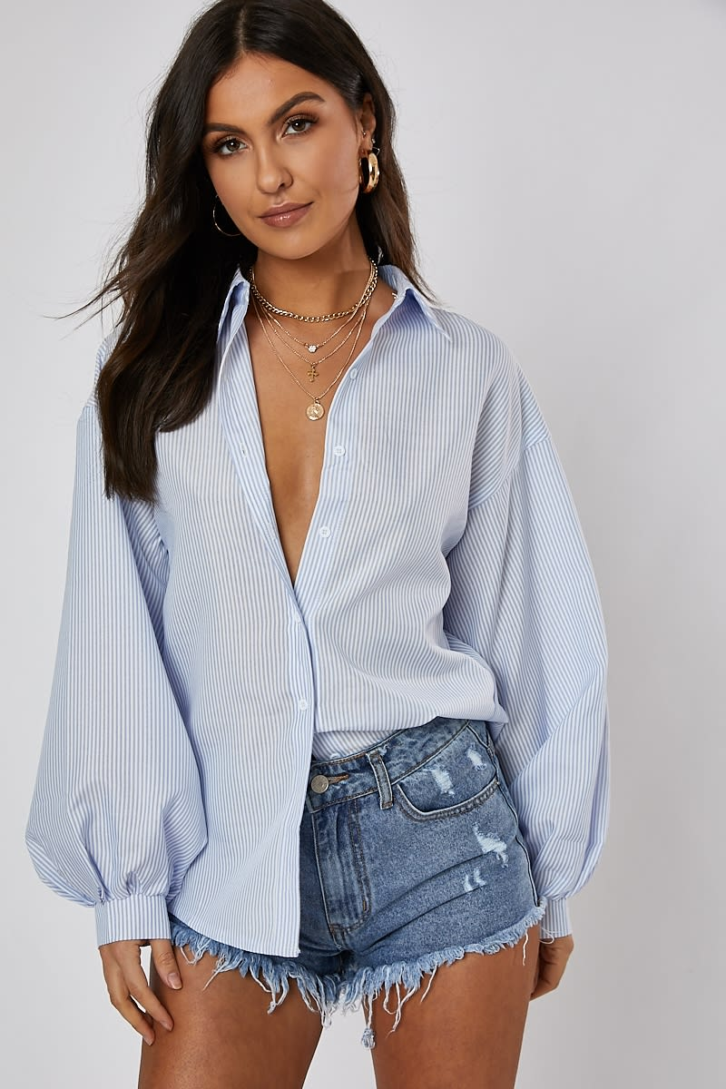 pinstripe oversized balloon sleeve shirt