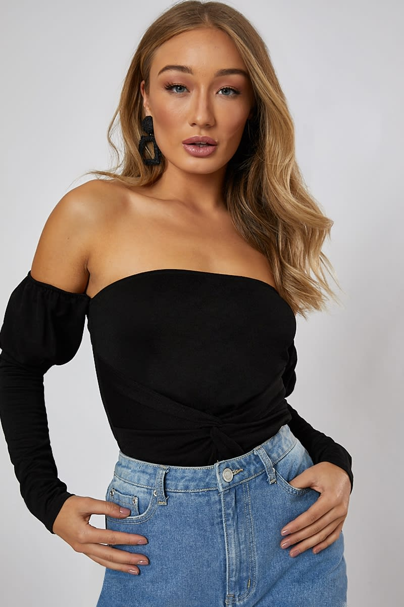 black twist front bardot top