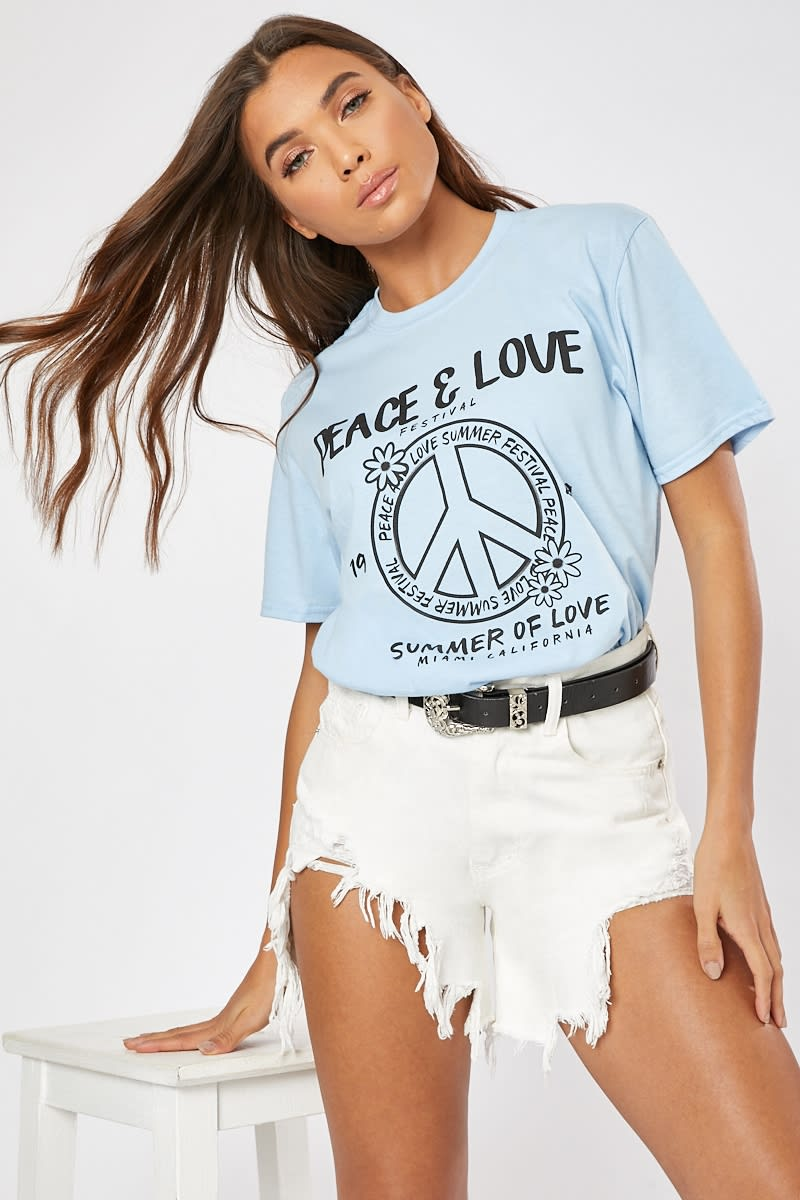 PALE BLUE PEACE & LOVE OVERSIZED T SHIRT