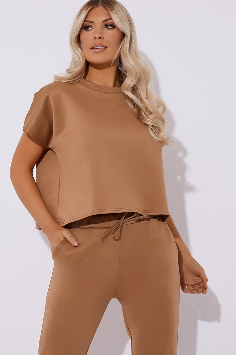 camel oversized crew neck lounge tee