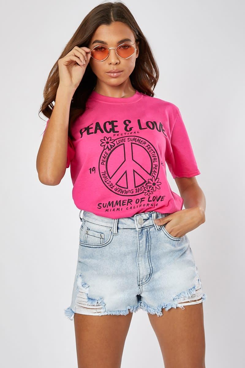 PINK PEACE & LOVE OVERSIZED T SHIRT