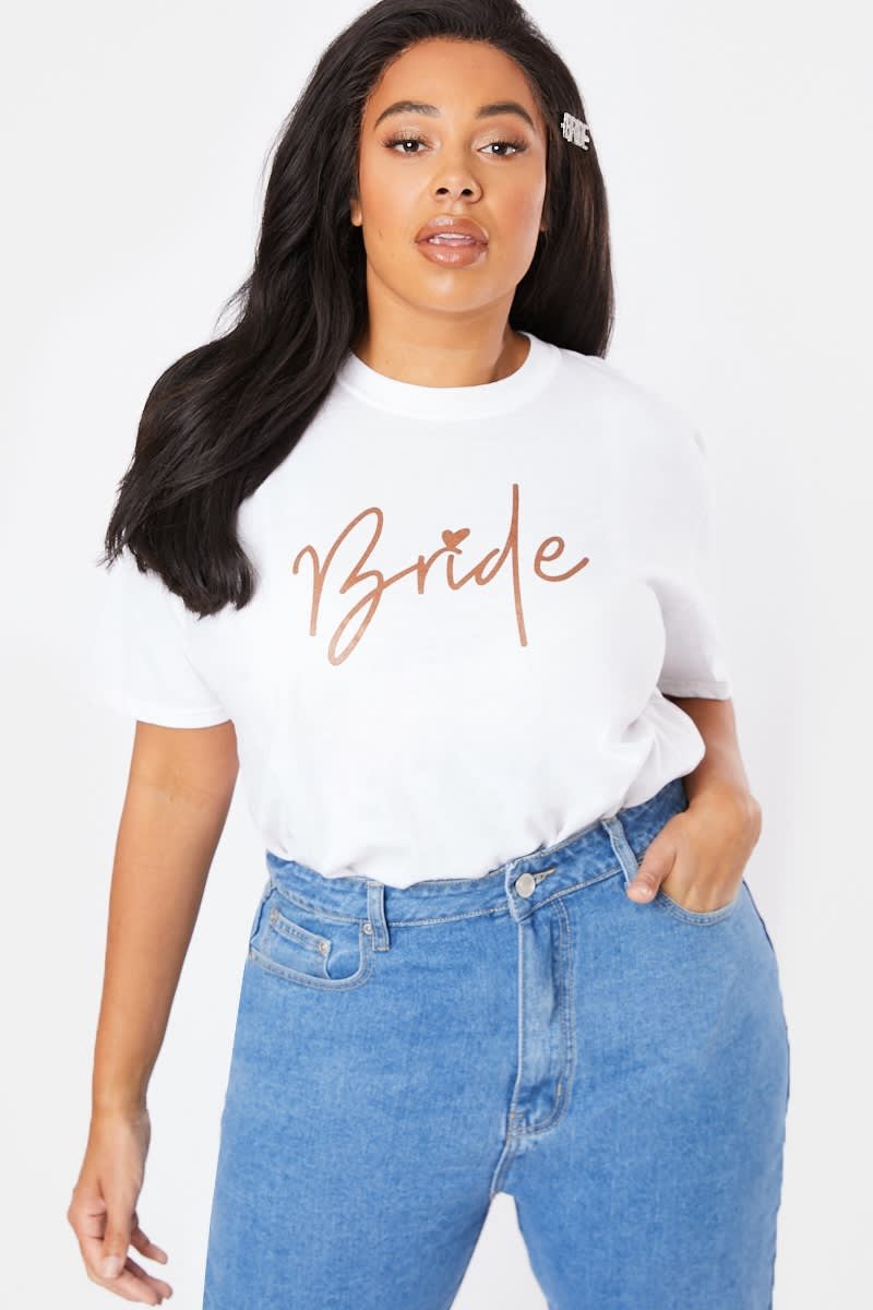CURVE BRIDE ROSE GOLD WHITE T SHIRT