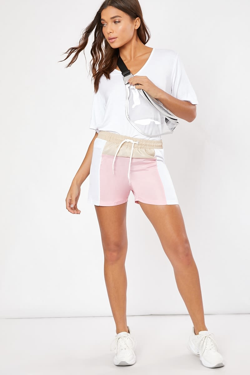 pink panelled runner shorts
